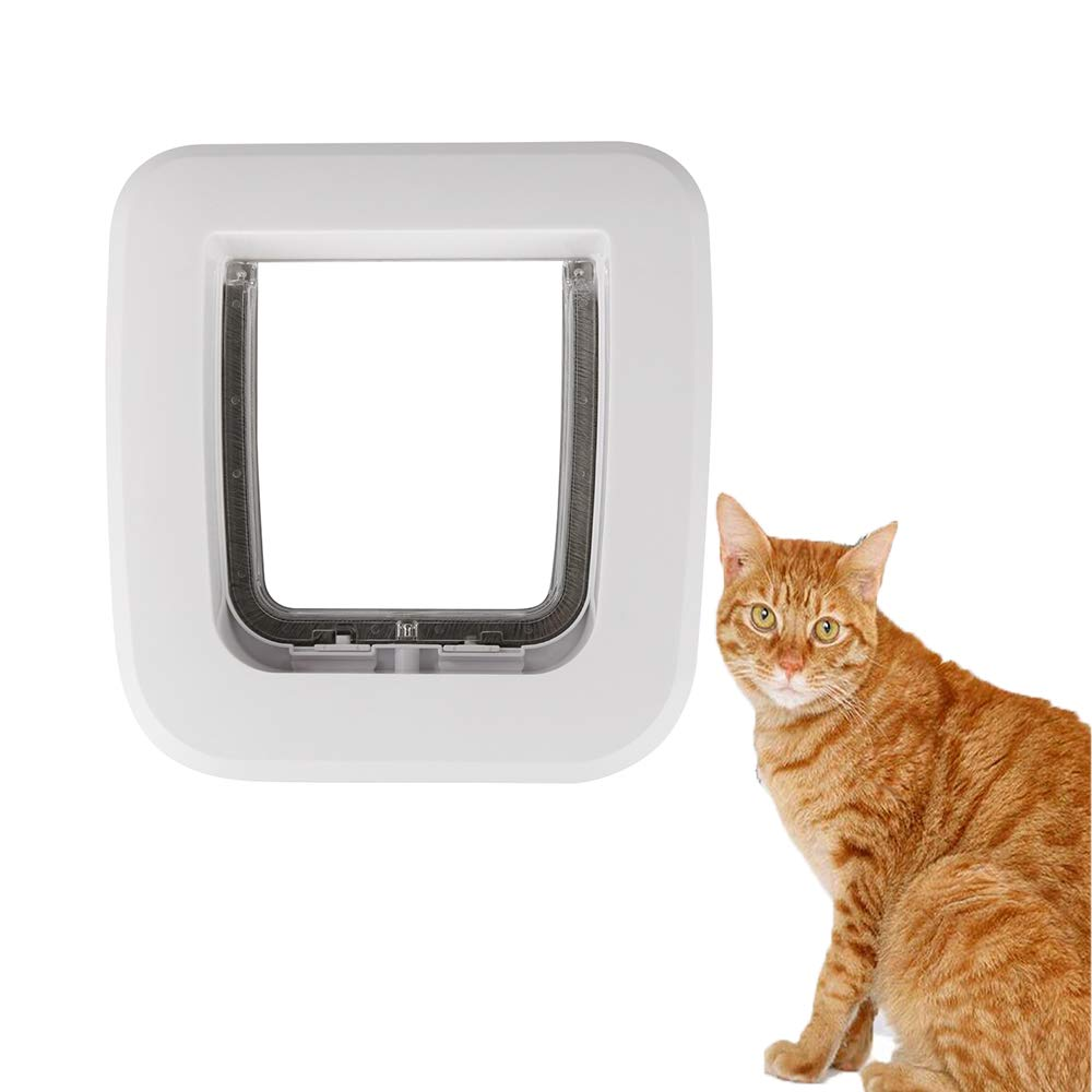 Cat Flap Door, Magnetic Smart Pet Door Available in Cats, Small Dogs, Puppy, Fits for Sliding Glass Door, Glass Window (White)