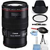 Canon EF 100mm f/2.8L Macro IS USM Lens #3554B002 [International Version] (Starter Bundle)
