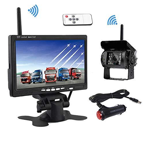 Podofo Draadloze achteruitrijcamera, 7 inch HD TFT LCD achteraanzicht monitor + waterdichte achteruitrijcamera voor…