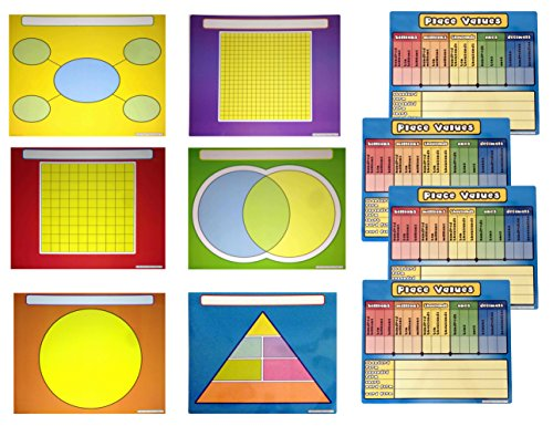 Reusable Charts for Kids Learning Bundle - 6 Graphic Organizers and 4 Place Value Dry Erase Mats 17x14 Each ()