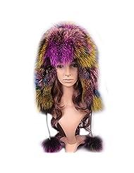 UK.GREIFF Womens Fashion Warm Stretch Fox Fur Bomber Hat Winter Cap