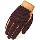 Heritage Crochet Riding Gloves, Size 5, Brown/Tan