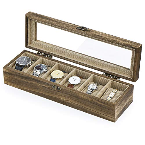 - SRIWATANA Watch Box Case Organizer Display for Men Women, 6 Slot Wood Box with Glass Top, Vintage Style