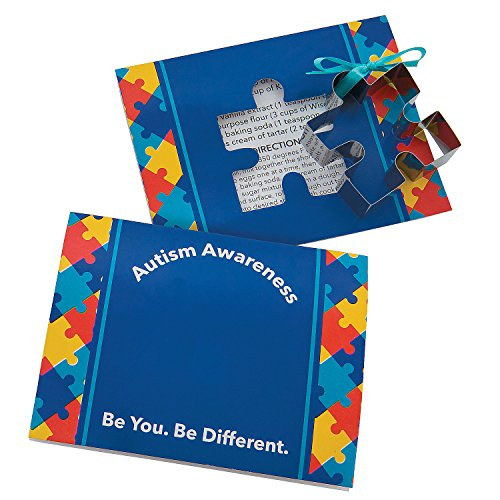 Fun Express Autism Awareness Puzzle Piece Cookie Cutters with Card - 12 pieces (Cookie Teacher Gift)