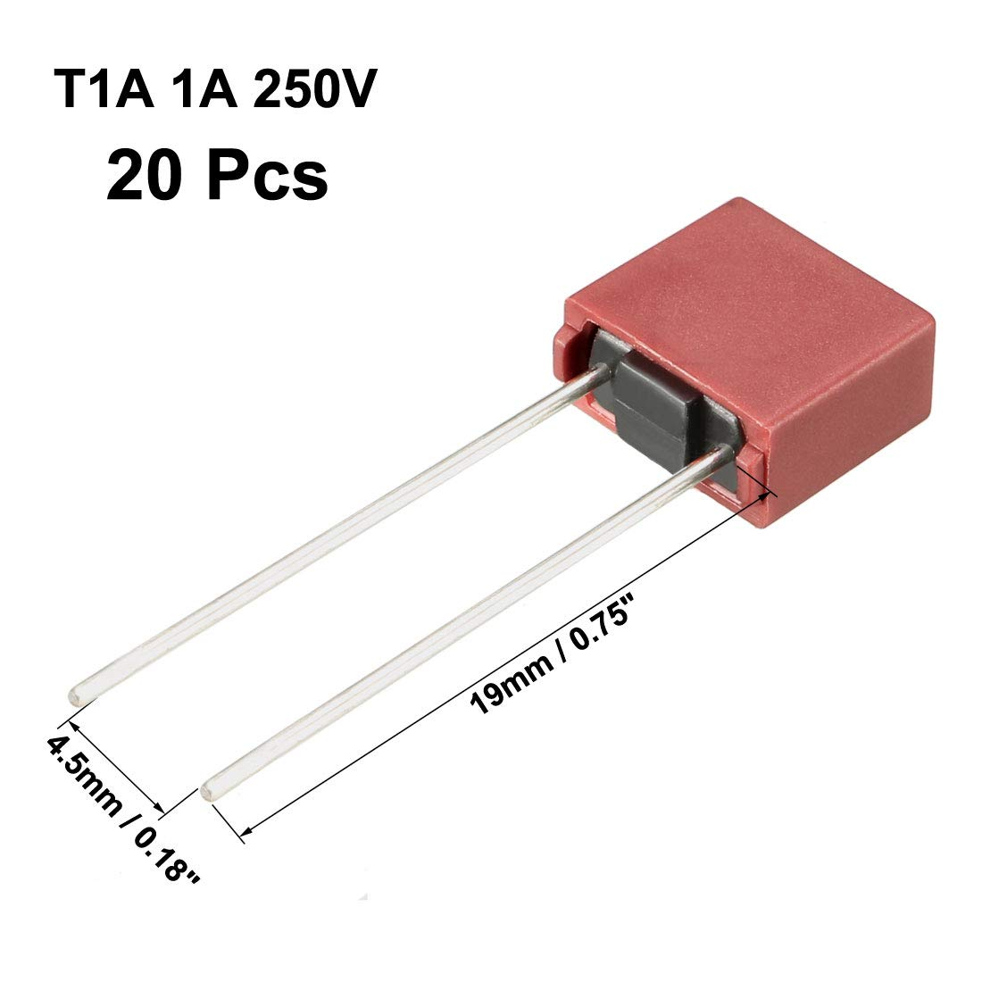 uxcell 10Pcs DIP Mounted Miniature Square Slow Blow Micro Fuse T6.3A 6.3A 250V Red