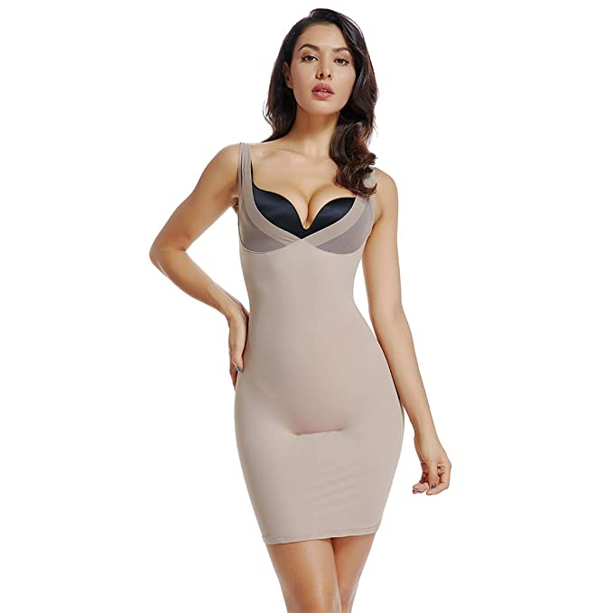 aa824ea9569d5 Womens Full Slips for Under Dresses Long Cami Slip Dress Seamless Body  Shaping Control Slip (
