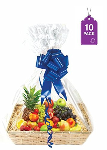 Hanukkah Cookie Basket - Clear Basket Bags 10 Pack, Extra Large Cellophane Wrap for Baskets 30