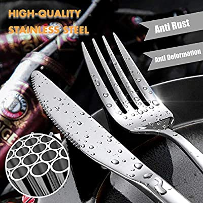 Silverware Set, Elegant Life 23-piece Flatware Set, Stainless Steel Cutlery Tableware Dinnerware Utensil Set, Knives, Forks, Spoons, Straws, Brush for Home Kitchen and Restaurant, Service for 4
