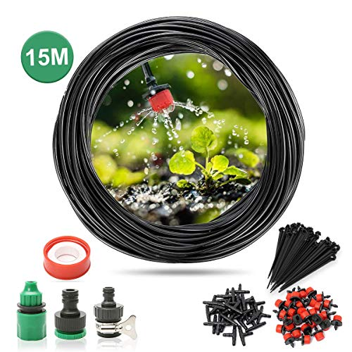 SAFETYON Watering Irrigation Kits Automatic Sprinkler System Kit Micro Dripper Irrigation Kit Accessories for Outdoor Garden Watering (15M)
