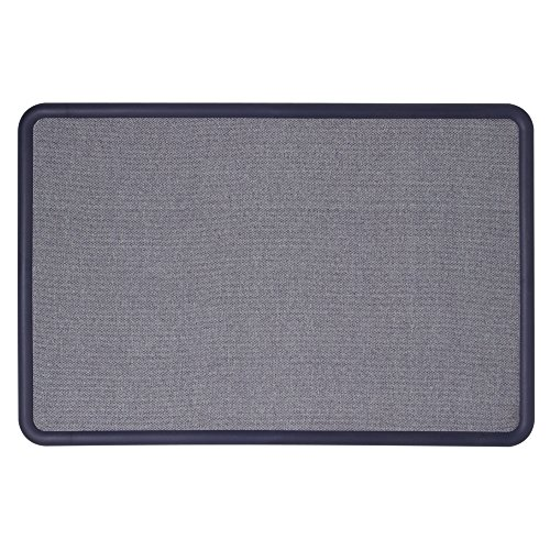 Quartet Bulletin Board, Fabric, 3 x 2 Feet, Office Bulletin Boards, Contour Navy Blue Plastic Frame ()