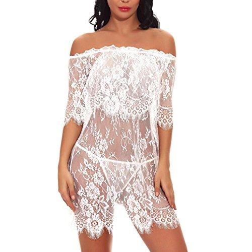 TOTOD Lingerie Fashion Women Off-Shouder Babydoll Mini Sleepskirt Lace Sexy Lingerie Underwear for $<!--$3.90-->