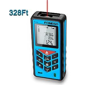Laser Distance Measurer, Foneso 328ft Digital Handheld Rangefinder with Mute Function Range Finder, Pythagorean Mode, Area& Volume Calculation