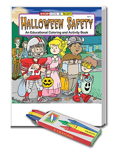 (25 Pack - Halloween Safety - Kids Coloring and Activity Books and Crayons Set in)