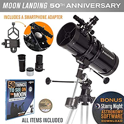 Celestron PowerSeeker 127EQ Newtonian Reflector Telescope with Smartphone Adapter - Limited Edition Apollo 11 50th Anniversary Bundle with Commemorative Coin and Book