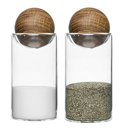 Sagaform Oak and Glass 4.5 Inch Salt and Pepper Shaker Set