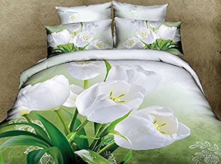 Bedspread 100%cotton,3d Daffodil Rose Flower Bedding Set Queen Size,  Comforter/