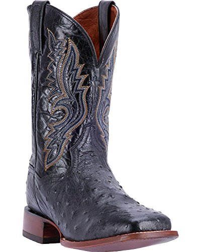 Dan Post Men's Full Quill Ostrich Cowboy Boot Square Toe Chocolate 9.5 EE (Dan Post Ostrich Boots)