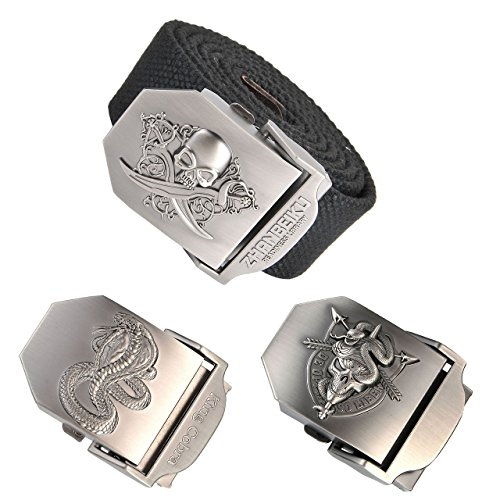 Ayliss Men Military Thicken Canvas Web Belt,Separate Interchangable Metal Buckle (Skull Black Belt&2 Change Buckles) Accessories Skull Belt Buckles