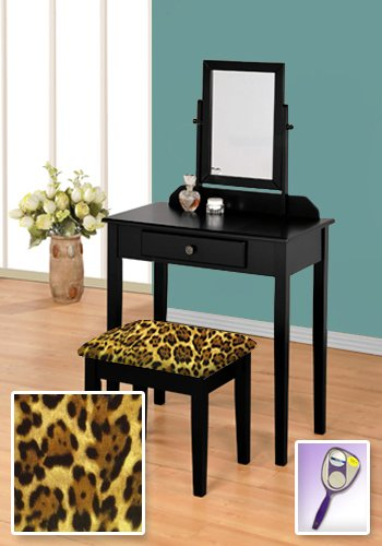 New Black Wooden Make Up Vanity Table with Mirror & Leopard Animal Print Themed Bench by The Furniture Cove