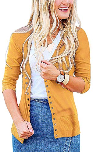 (Women's S-3XL Solid Button Front Knitwears 3/4 Sleeve Casual Cardigans Mustard XL)