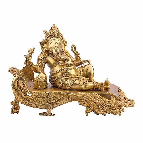 Estatua de Ganesh Idol   Ganesha   Ganpati Murti   para decoración del hogar   Regalo   descansando en un sofá de Pavo Real...