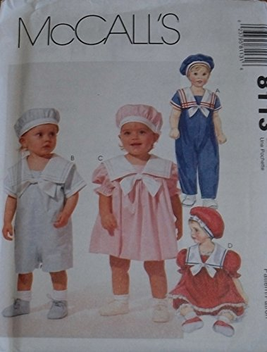 8113 McCalls Sewing Pattern UNCUT Infant Jumpsuit Dress Panties Beret 13 - 24 Pounds
