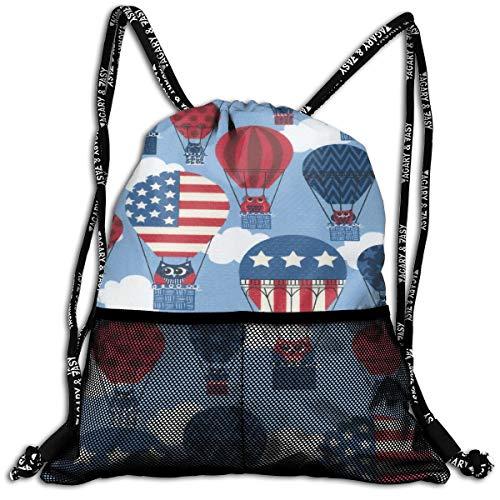 Patriotic Hot Air Balloon American Flag Drawstring Sack Traveling School Shoulder Backpack Large Capacity Beam Bag, Home Travel Storage Use Gift For Men & Women, Girls Boys -