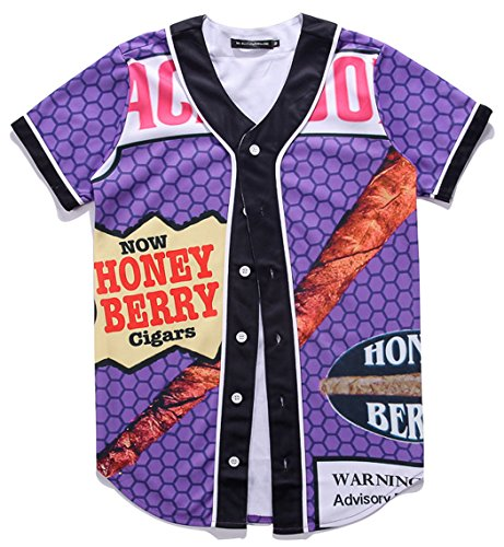 HOP FASHION Youth Unisex Boy Girl Baseball Jersey Short Sleeve 3D Honey Berry Cigars Print Dance Team Uniform Tops Shirt HOPM007-16-S