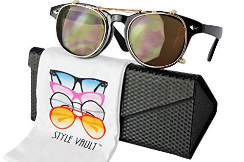 W87-ec Style Vault Clip on detachable wayfarer Sunglasses (S2870V Black/gold-brown, - Detachable Sunglasses