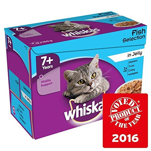 Whiskas 7+ Cat Pouches Fish in Jelly 12 x 100g (Pack of 6) by Whiskas