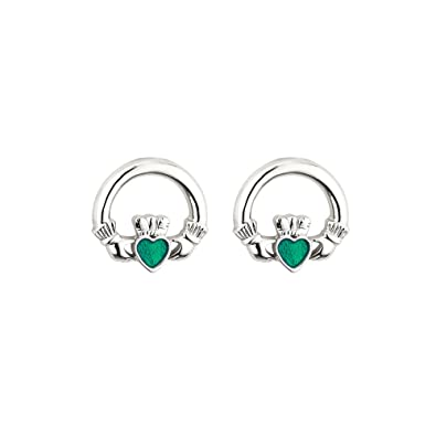 9df9196292018 Valentines Jewelry Claddagh Stud Earrings Rhodium Plate and Enamel Made in  Ireland