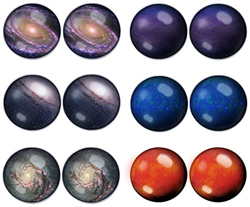 LilMents 6 Pairs Solar System Galaxy Universe Unisex Mens Womens Stainless Steel Stud Earrings (Set C) - Stainless System