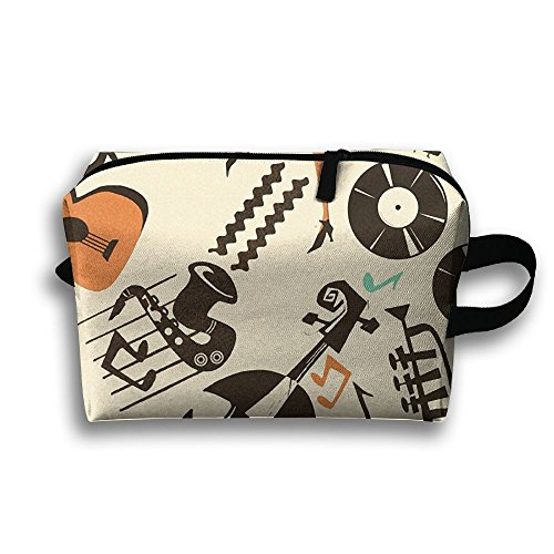 Jazz Collection Mix Cosmetic Bag Portable Zipper Travel Toiletries Bag For Women & Men