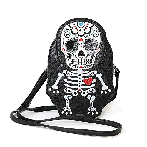 Sleepyville Critter Suger Skull Skeleton Man With A Heart Shoulder Crossbody Bag]()