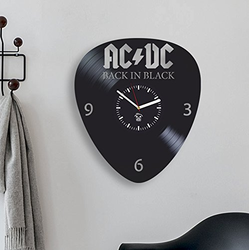 Kovides AC DC, ACDC Music, Rock Band, Back in Black, Modern Art, Vinyl Record Clock, Best Gift for Dad, Boy Girl, Vinyl Wall Clock, Home Decoration Wall Clock Modern, Vinyl Wall Clock Silent