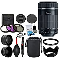 Canon EF-S 55-250mm F4-5.6 IS STM Lens for Canon SLR Cameras, 58mm 2X Professional Telephoto Lens, High Definition 58mm Wide Angle Lens Bundle with Accessories Plus DIGITALUNIVERSE CLOTH
