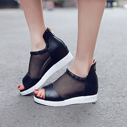 Sandals Summer Breathable Net Yarn Open Toe Increased Within Mid Heel Shoes Student Shoes Black YRLJ9jR