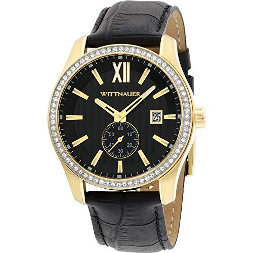Black Leather Strap Crystal Watch - Wittnauer WN1011