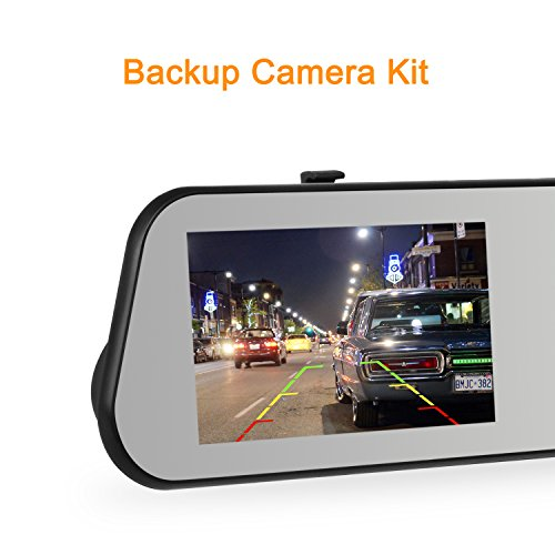 AUTO-VOX M6 Dash Cam Backup Camera Kit HD Mirror Cam with Motion Detection, IP 68 Waterproof LED Night Vision Reverse Rear View License Plate Back up Car Camera and FHD 1080P 4.5'' Touch Screen by AUTO-VOX (Image #3)