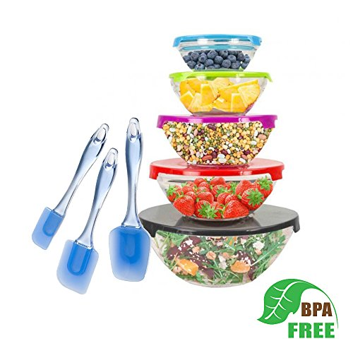 Glass Mixing Bowls Set with Colored Lids and LP 3-Piece Silicone Spatula Set. Great Fruit Bowl with Lid