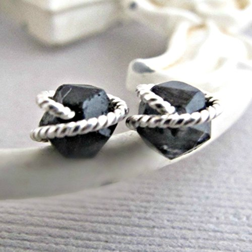 (Black Quartz Earrings, Raw Quartz Studs, Diamond Cut Earrings Studs, Sterling Silver, Rough Quartz Earrings, Crystal Earrings, Quartz Studs)