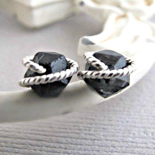 Rough Cut Diamond - Black Quartz Earrings, Raw Quartz Studs, Diamond Cut Earrings Studs, Sterling Silver, Rough Quartz Earrings, Crystal Earrings, Quartz Studs