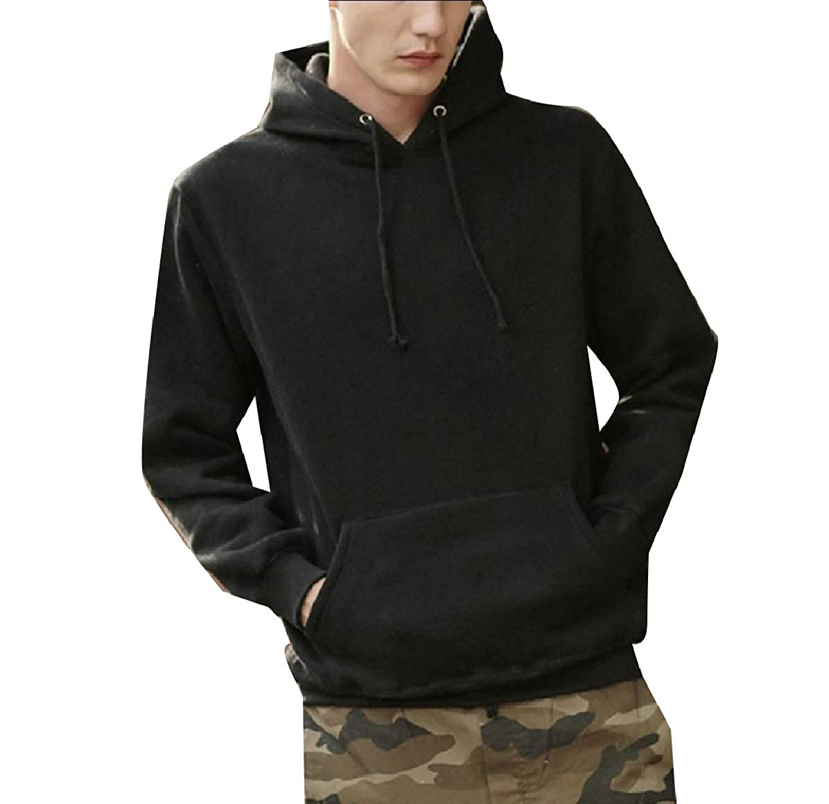 Mfasica Mens Hood Relaxed Fit Unisex Pure Color Fleece Pockets Pullover