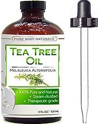 Pure Body Naturals - Tea Tree Essential Oil Pure 4 Oz Premium Melaleuca Therapeutic Grade From Australia, Use With Soap & Shampoo, Face & Body Wash