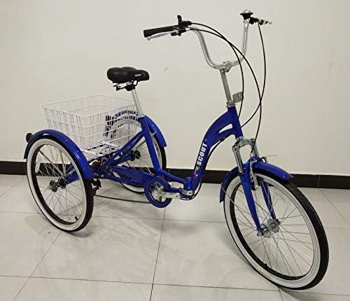Cadre en Alliage Trike Pliant Pliable Scout Tricycle Adulte 6 Vitesses Suspension Avant