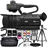 JVC GY-HM170UA 4KCAM Compact Professional Camcorder 14PC Accessory Bundle – Includes Manufacturer Accessories + 3 Piece Filter Kit (UV + CPL + FLD) + 4PC Macro Filter Set (+1,+2,+4,+10) + MORE
