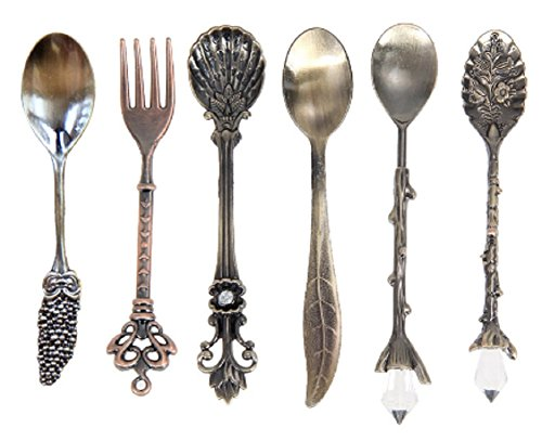 TP7 6 Pcs Set Vintage Royal Style Metal Carved Mini Coffee Spoons Fork Kitchen Accessories Fruit Prikkers Dessert (Spoon Girls Can Tell Vinyl compare prices)