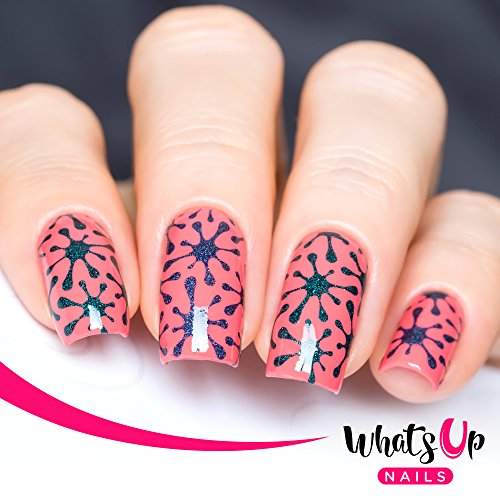 Whats Up Nails - Splatters Vinyl Stencils for Nail Art Design (2 Sheets, 24 Stencils Total) ()