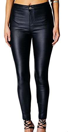 c78b947cf0c34 Fulok Women's Skinny High Waist Faux Leather Zipper Pencil Long Pant Black  XS