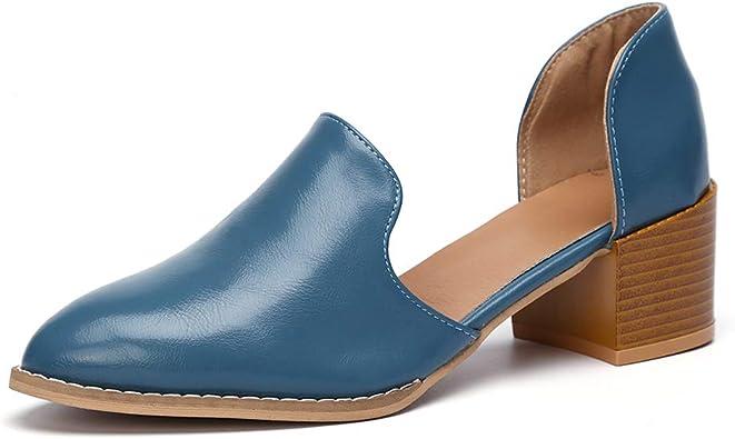 Mocassins Femme Cuir Talon Bas Loafers Ete Chic Chaussures Cheville Escarpins Femmes Bloc 5cm Mode Casual Souple Noires Bleu Grande Taille 35 43